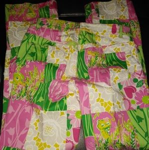 Lilly Pulitzer sz 2 Leopard Pink Green Pants Beads